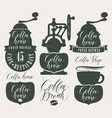 character set for coffee house with coffee grinder vector image