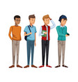colorful set group of boy students standing vector image vector image