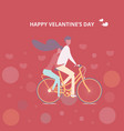 couple cycling together man and women riding a vector image