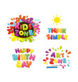 cute design for kids art zone happy birthday vector image vector image