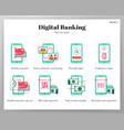 digital banking icons flat pack vector image