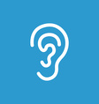 ear icon white on the blue background vector image vector image