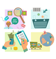 Flat design e-commerce icons vector image