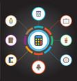 flat icons watch identification espresso machine vector image vector image