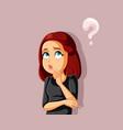 funny cartoon girl thinking having many questions vector image vector image