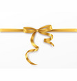 golden bow and ribbon on white background vector image vector image