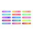 gradient buttons flat design web and ui vector image vector image
