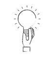 hand holding bulb idea creativity symbol vector image
