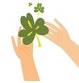 Hands holding clover leaf vector image vector image