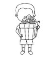 little boy with gift vector image vector image