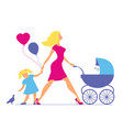 mom with daughter and baby in baby carriage vector image vector image