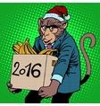 Monkey Santa Claus symbol new year 2016 vector image vector image