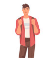 native american guy with backpack international vector image