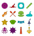 nautical icons doodle set vector image vector image