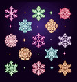 neon snowflakes collection vector image