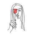 one line art woman girl portrait face with rose vector image