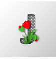paper cut letter j with poppy flowers vector image vector image