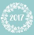 Pastel laurel wreath hello New Year 2017 vector image
