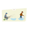 people fishermans fishing fish on fishing rod and vector image