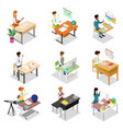 people sitting at table isometric 3d set vector image vector image