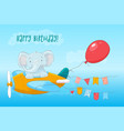 postcard cute baelephant flying on an airplane vector image vector image