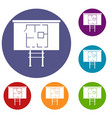 project of house on a board icons set vector image vector image