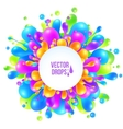 Rainbow colors liquid splash with round vector image vector image