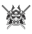 samurai mask with crossed swords isolated on vector image vector image