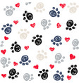 seamless background with heart and footprint paws vector image vector image
