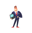 self confident businessman showing growing graph vector image vector image
