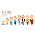 set casual man age flat icons vector image