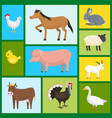 set of farm domestic animals seamless pattern vector image
