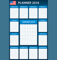 usa planner blank for 2018 scheduler agenda or vector image vector image
