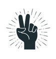 victory gesture hand two fingers raised up vector image