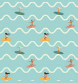 vintage surfing people on waves seamless pattern vector image vector image