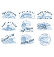 wave labels logos set atlantic tide templates vector image