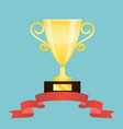 winner trophy cup with red ribbon vector image