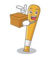 with box baseball bat character cartoon vector image vector image