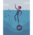 Businessman drowning chained with a weight Debt vector image