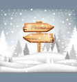 winter card with christmas wood sign snowy vector image