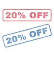 20 percent off textile stamps vector image