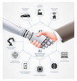 ai robot and business man handshake together vector image vector image