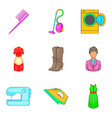 androgynous icons set cartoon style vector image vector image