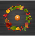 autumn composition with candle on wooden table vector image vector image