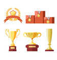 awards of champion golden cup or goblet prize vector image