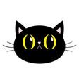 black cat round head face icon big yellow eyes vector image vector image