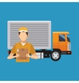 Box truck and man of delivery concept design vector image vector image