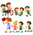 Boy in green shirt doing different activities vector image vector image