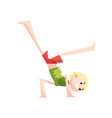 boy standing upside down practicing capoeira vector image vector image