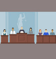 cartoon color court building inside interior with vector image vector image